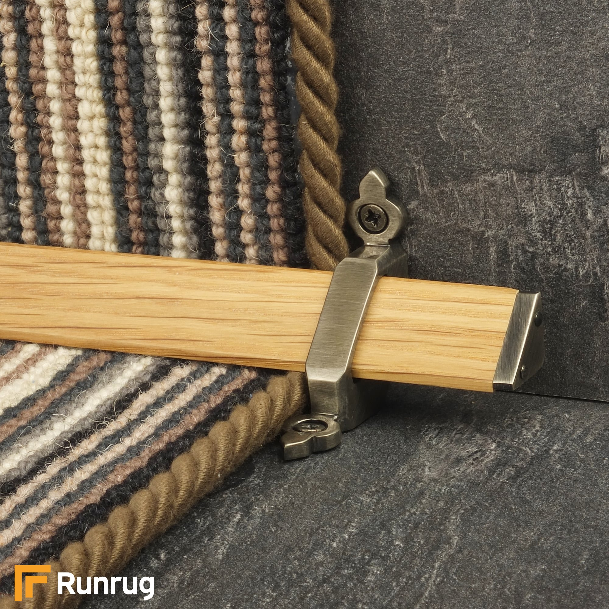 Stair Carpet Runner Rods   Tudor Pewter Finish Light Wood Stair Carpet  Runner Rods