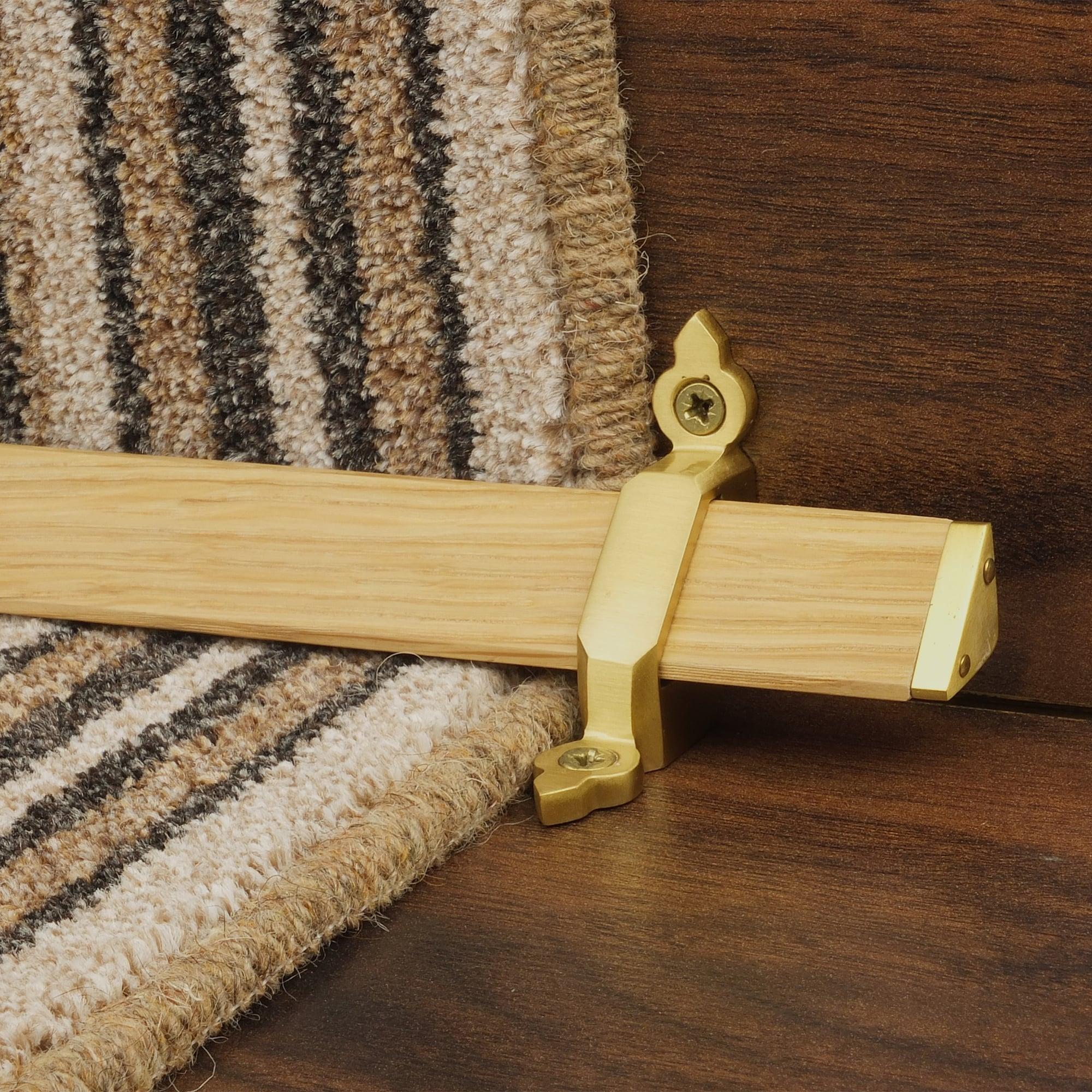 Tudor Satin Brass Light Wood Stair Rod Bar