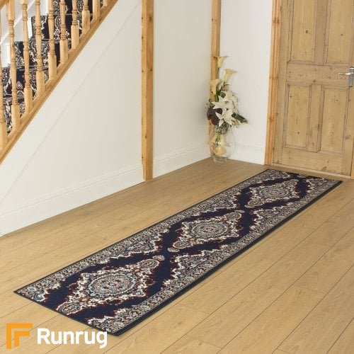 Turkesh Navy Blue Hall Runner