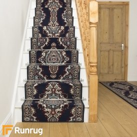 Turkesh Navy Blue Stair Runner