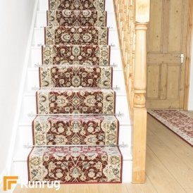 Valero Red Cream Stair Runner