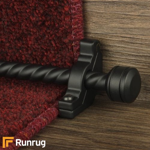 Vision Black Finish Piston Spiral Stair Carpet Runner Rods