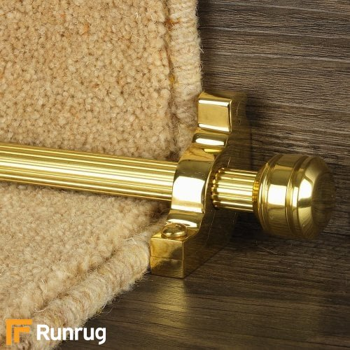 Vision Brass Finish Piston Reeded Stair Carpet Runner Rods