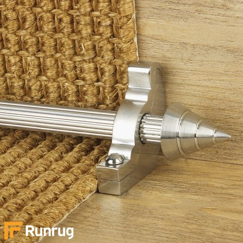 Vision Brushed Chrome Finish Arrow Reeded Stair Carpet Runner Rods