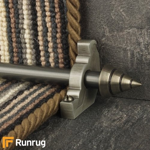 Vision Pewter Finish Arrow Plain Stair Carpet Runner Rods