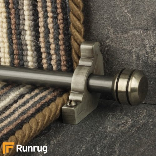 Vision Pewter Finish Piston Plain Stair Carpet Runner Rods