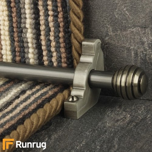 Vision Pewter Finish Sphere Plain Stair Carpet Runner Rods