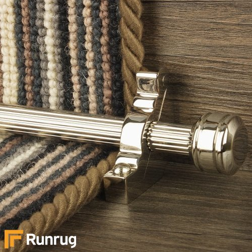 Vision Polished Nickel Finish Piston Reeded Stair Carpet Runner Rods
