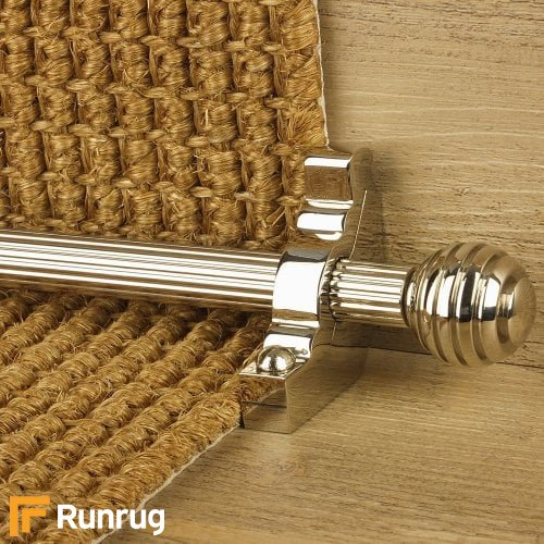 Vision Polished Nickel Finish Sphere Reeded Stair Carpet Runner Rods