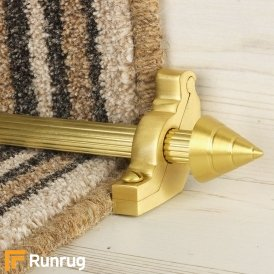 Vision Satin Brass Finish Arrow Reeded Stair Carpet Runner Rods