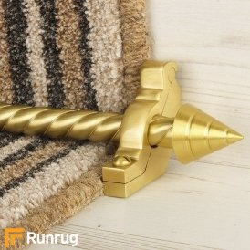 Vision Satin Brass Finish Arrow Spiral Stair Carpet Runner Rods