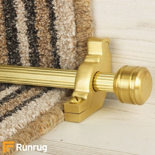 Vision Satin Brass Finish Piston Reeded Stair Carpet Runner Rods
