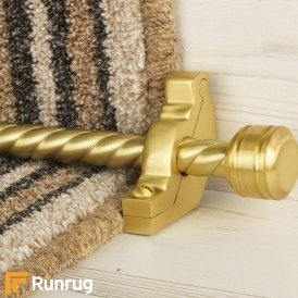 Vision Satin Brass Finish Piston Spiral Stair Carpet Runner Rods