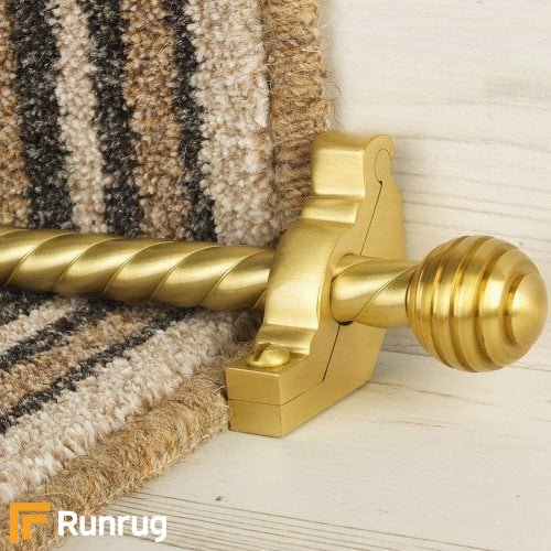 Vision Satin Brass Finish Sphere Spiral Stair Carpet Runner Rods