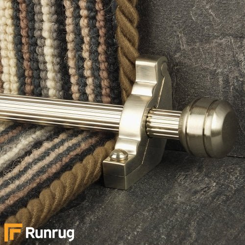 Vision Satin Nickel Finish Piston Reeded Stair Carpet Runner Rods