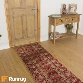 Warrior Taupe Red Hall Runner