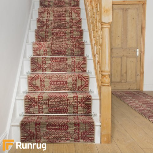 Warrior Taupe Red Stair Runner