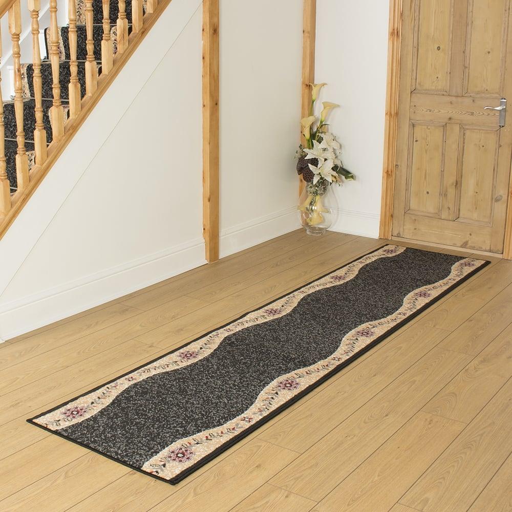 Black hallway carpet runner wave - Black carpet runners for hall ...