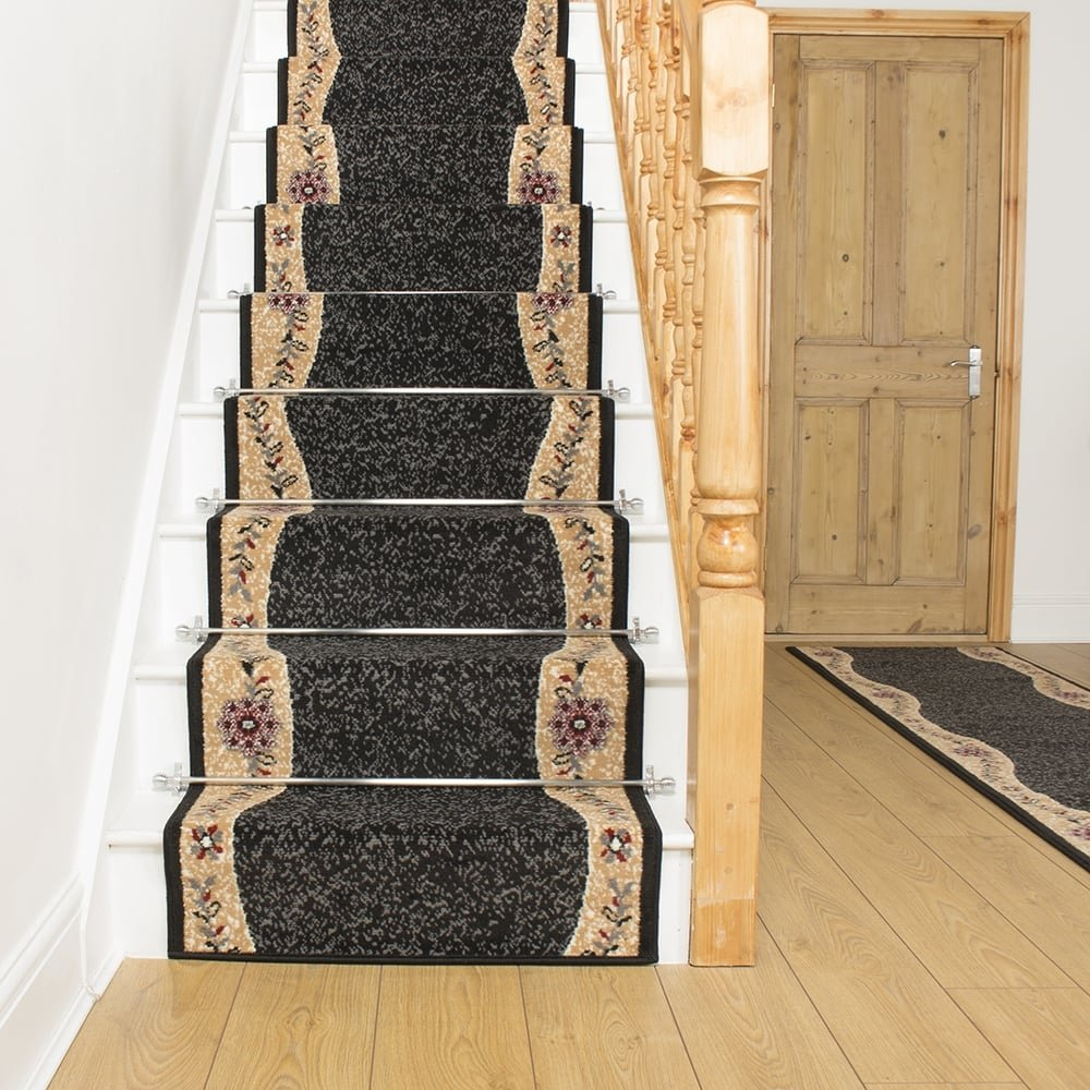 Black Stair Carpet Runner Wave