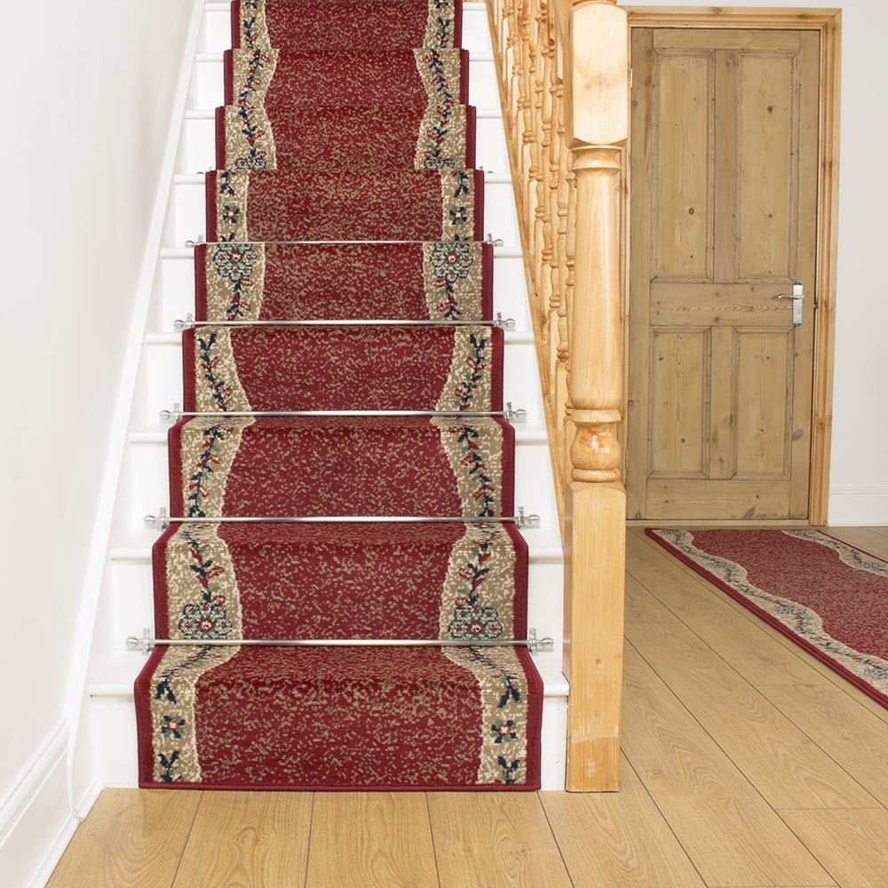 Red Stair Carpet Runner Wave