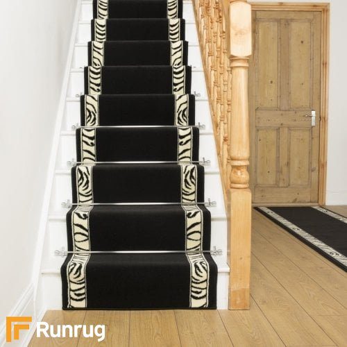 Zebra Border Print Stair Runner