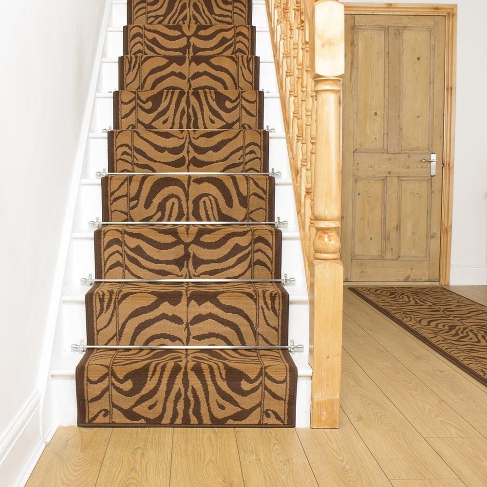 Brown stair carpet runner zebra for Leopard print carpet stair runner