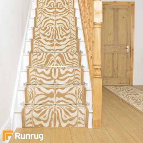 Zebra Cream Animal Print Stair Runner