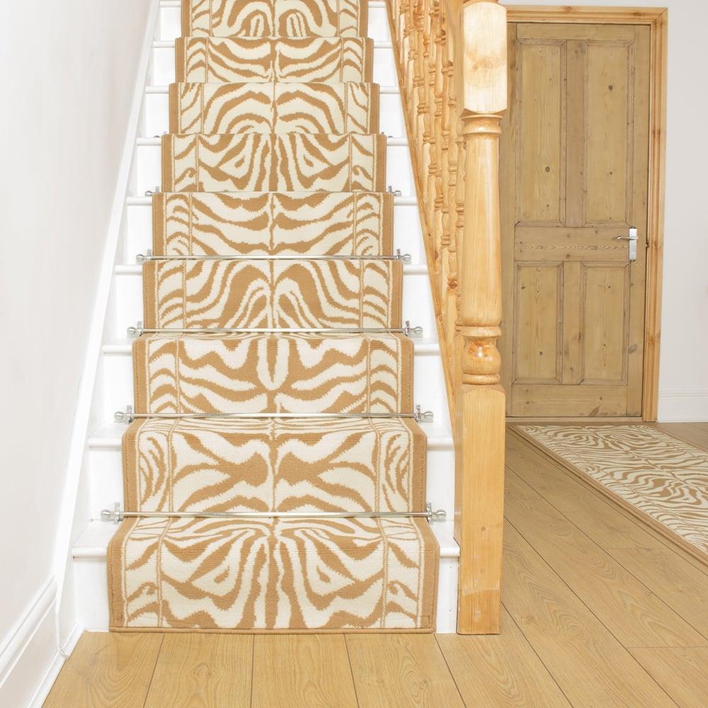 Zebra Cream Stair Carpet Runner For Narrow Staircase