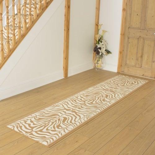 Zebra Cream Hallway Carpet Runner