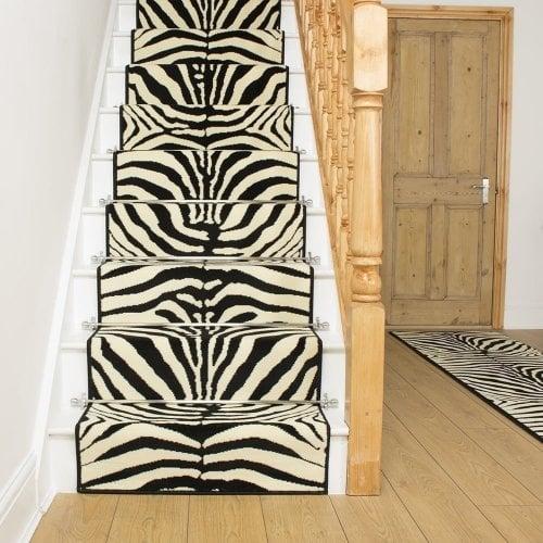 Black stair carpet runner zebra for Zebra print flooring