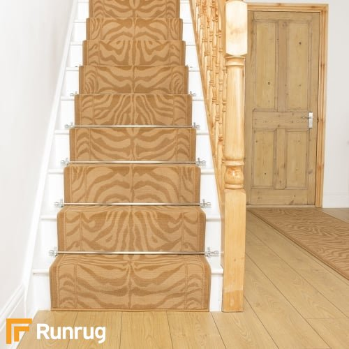 Zebra Golden Print Stair Runner