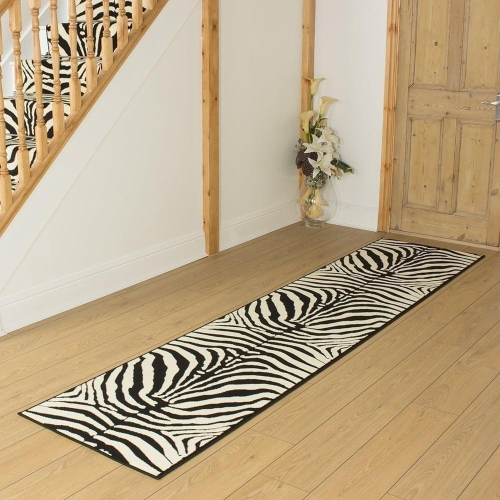 Long Narrow Trendy Zebra Print Runner Rug Monochrome Black White Hallway Runners