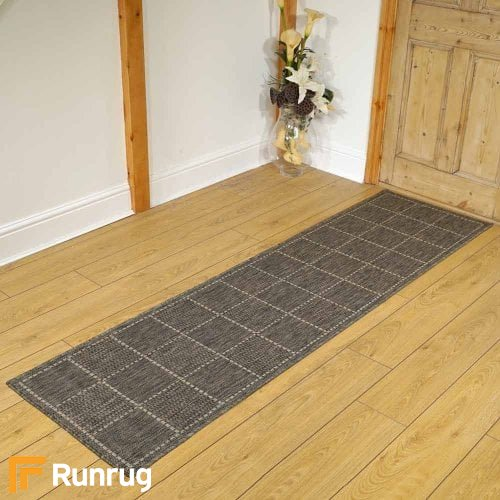 Checked Flatweave Gray Rug Runners