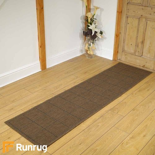 Checked Flatweave Natural Rug Runners