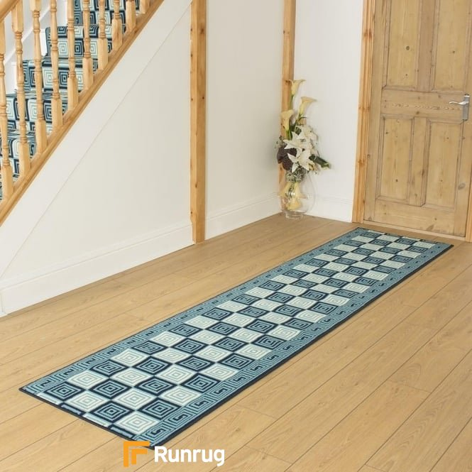 Chequer Blue Hall Runner