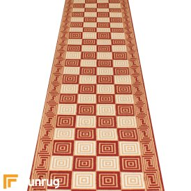Chequer Red Hallway Carpet Runner