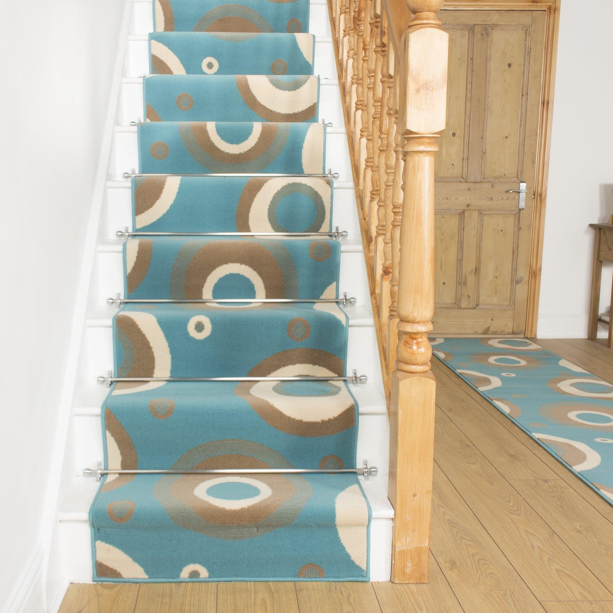 Circle Blue Stair Runner