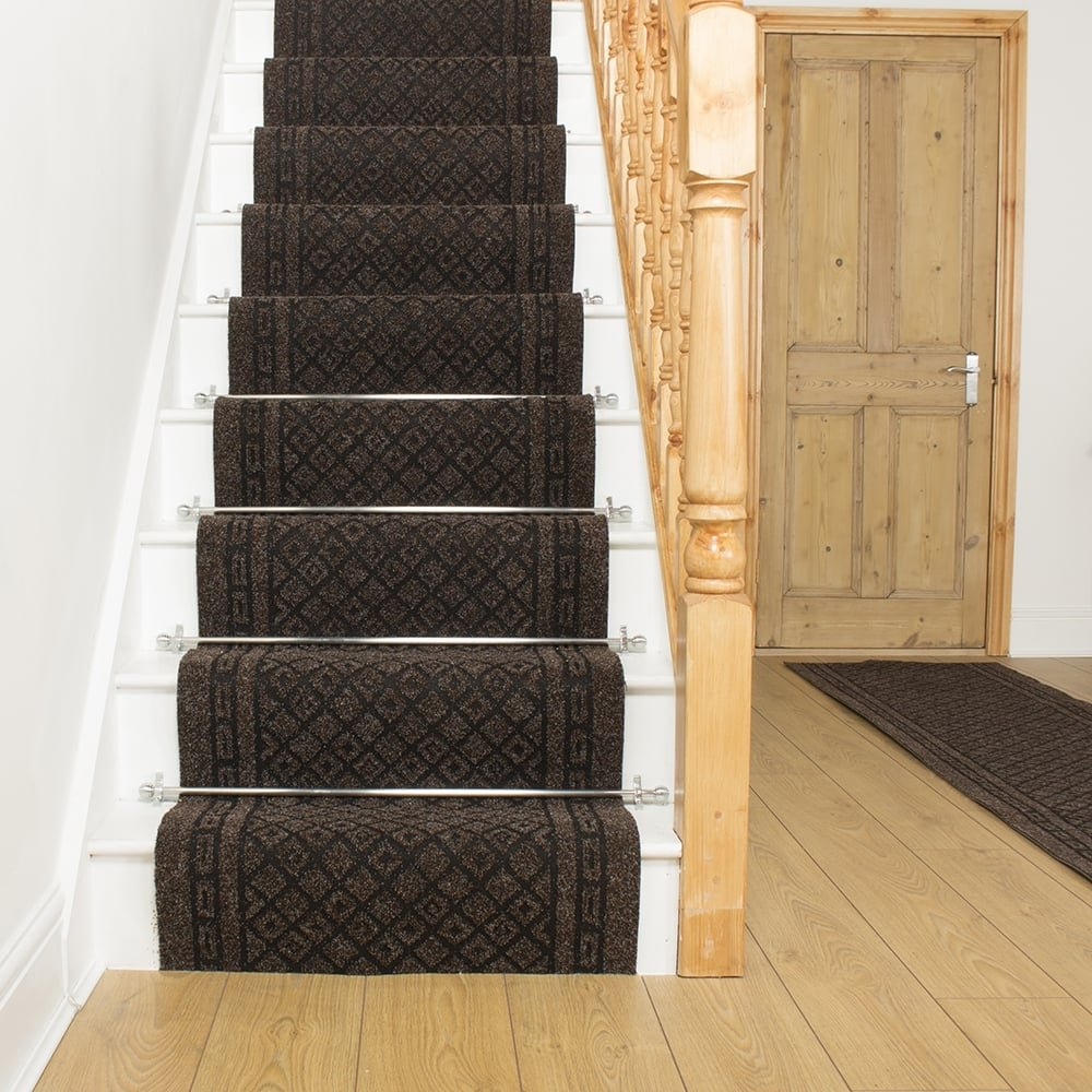 Dark Brown Stair Runner Rug Conga