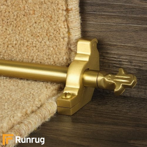 Country Satin Brass Finish Bordeaux Plain Stair Carpet Runner Rods