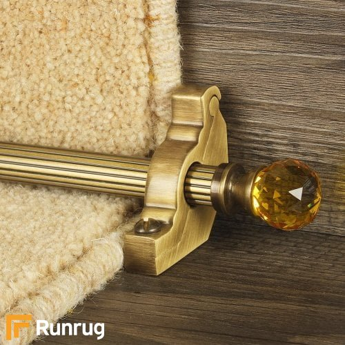 Crystal Antique Brass Amber Reeded Stair Rod