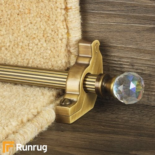 Crystal Antique Brass Rainbow Reeded Stair Rod