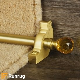 Crystal Satin Brass Amber Reeded Stair Rod