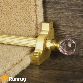 Crystal Satin Brass Rose Reeded Stair Rod