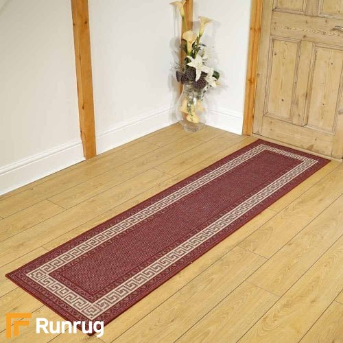 Greek Key Flatweave Red Rug Runners
