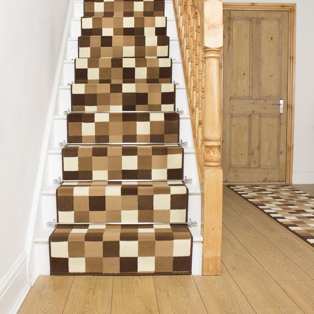 Gridlock Beige Stair Runner - Gridlock floor tiles