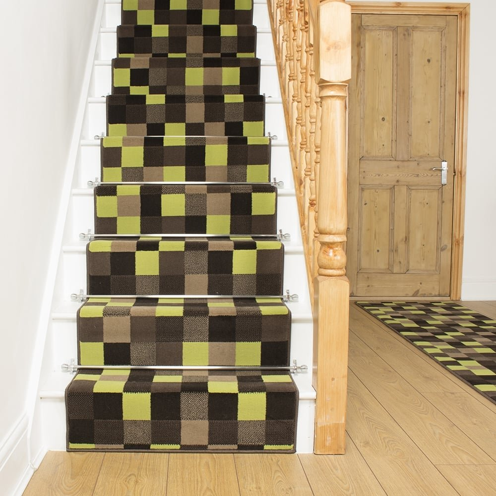 Gridlock Green Stair Runner - Gridlock floor tiles