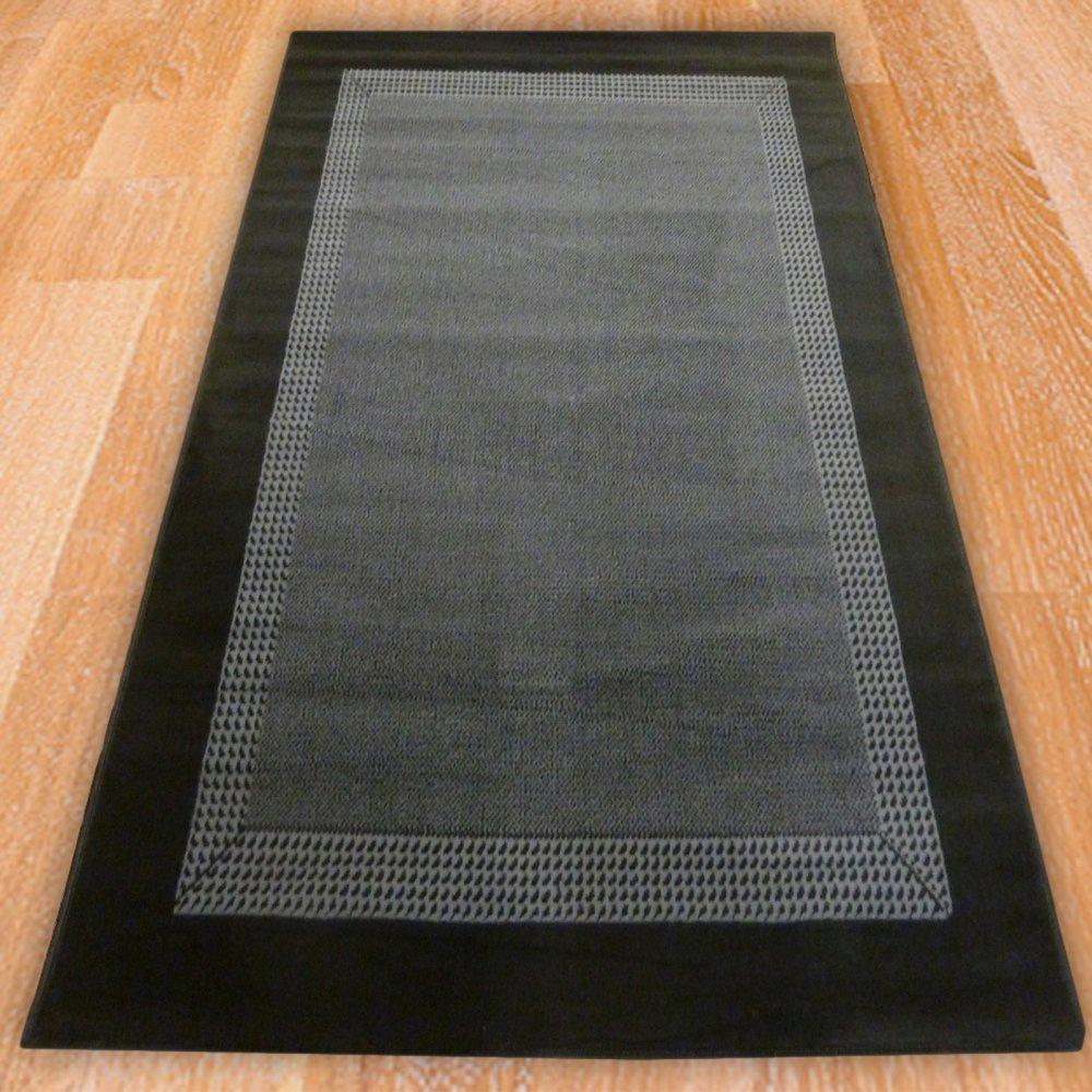 Black Solid Border Rug Carpet Runners Uk