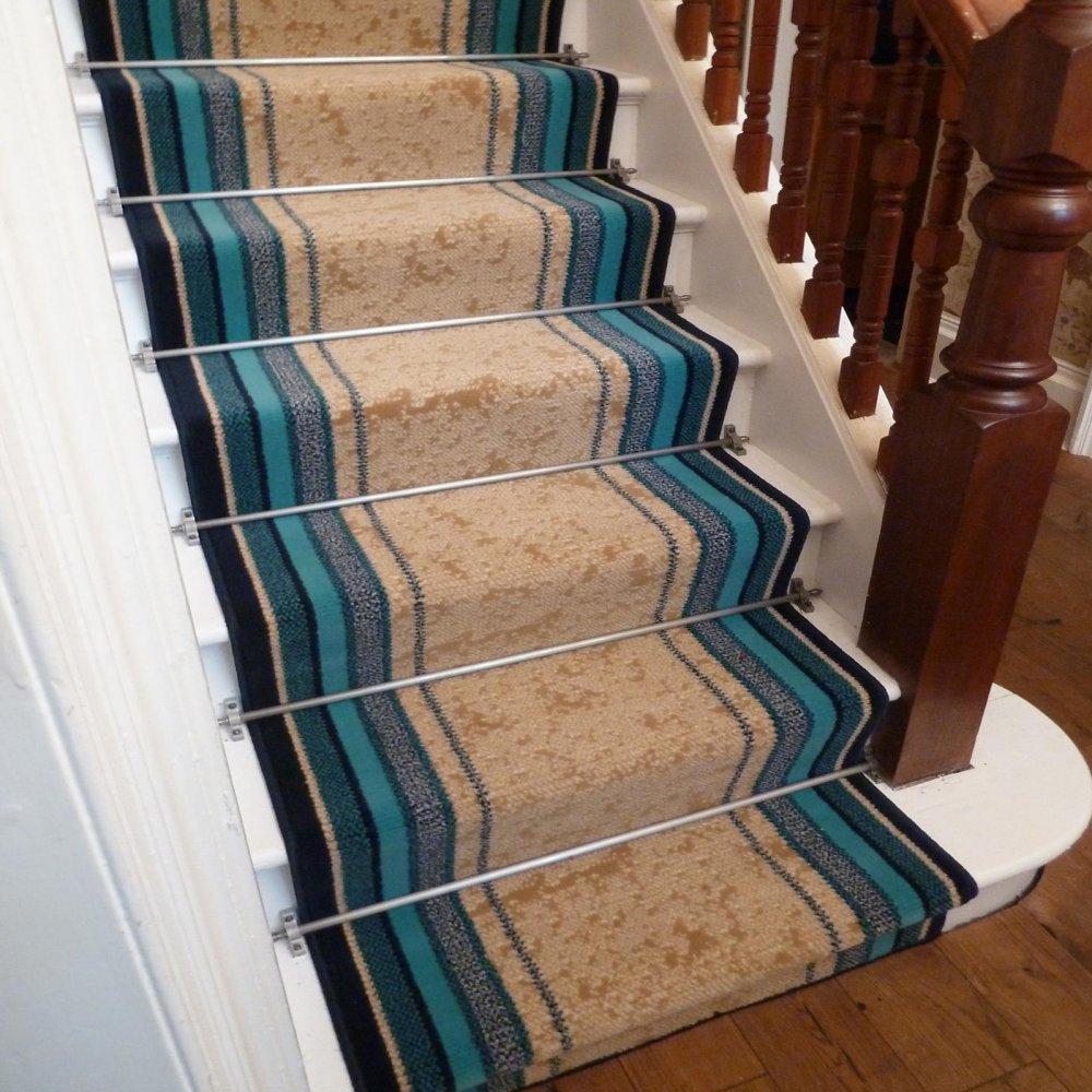 Blue Stair Carpet Runner Striped Runners Uk