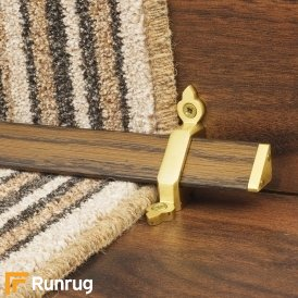 Tudor Satin Brass Dark Wood Stair Rod