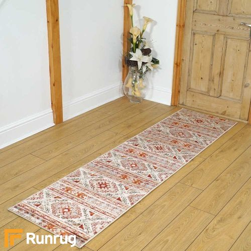 Valeria Diamonds White Rug Runners